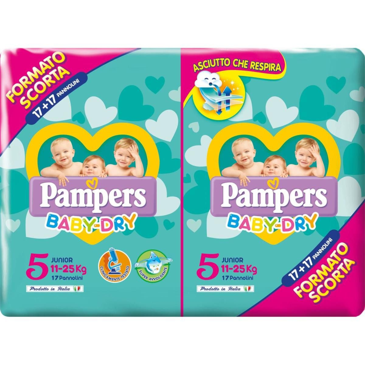 Pampers Baby Dry Duo Junior 34 Pannolini