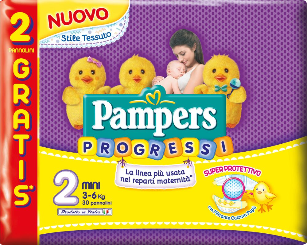 Pampers Progressi 2 Mini (3-6 Kg) 30 Pannolini