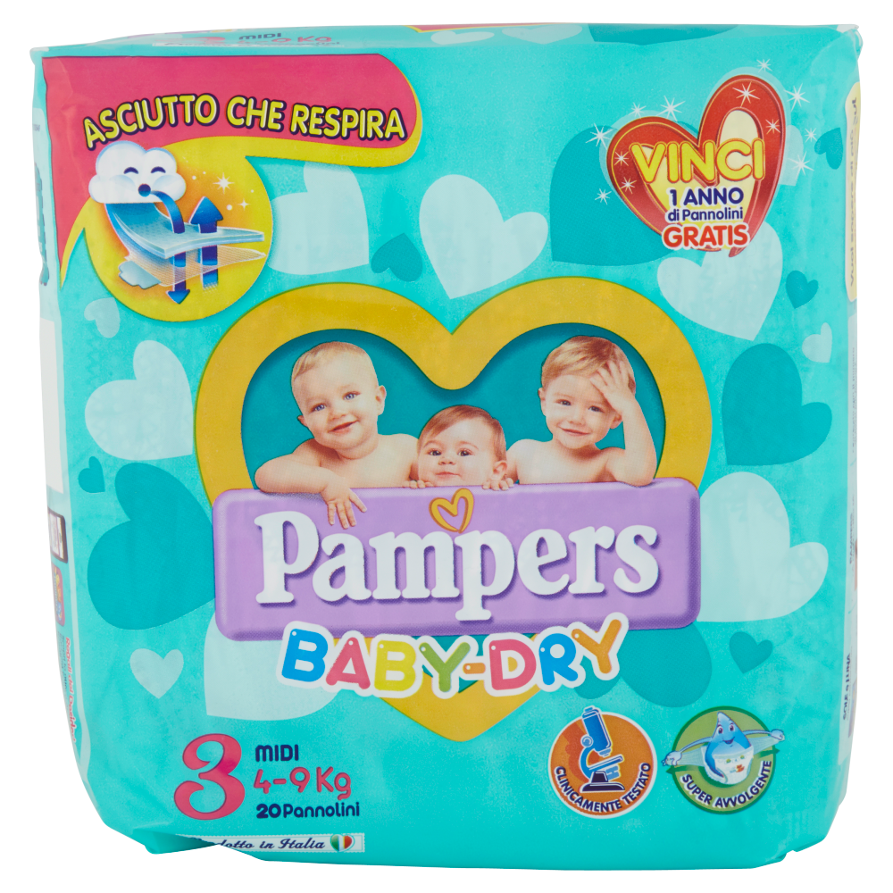Pampers Baby Dry 3 Midi 4-9 Kg 20 Pannolini