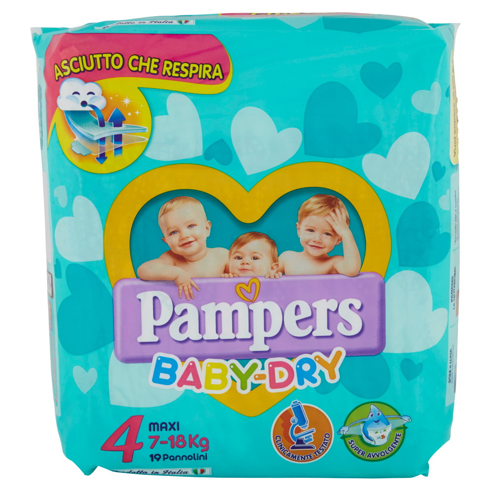 Pampers Baby Dry 4 Maxi 7-18 Kg 19 Pannolini
